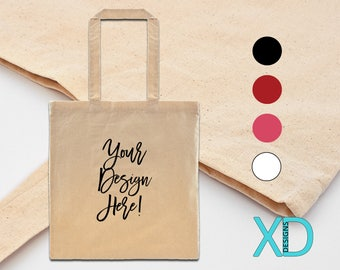 Custom Canvas Tote Bag, 5 Colors, 100% Lightweight Cotton Canvas, Personalized Tote Bag, Make Your Own Bag, Personalized, Monogram Tote
