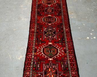 Persian Rug - 1980s Hand-Knotted Karaja Persian Rug Runner (3680)