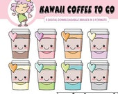 50%off Kawaii Coffee To Go DIGITAL CLIPART, coffee art, digital sticker, can be used with Goodnotes, make your own planner stickers