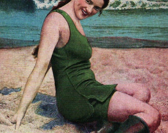 1920 Bathing Beauty postcard – A Little Sand Witch at the Beach - woman on beach in bathing suit