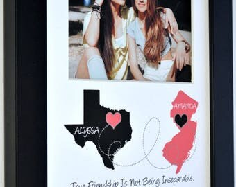 Two-State Personalized Map, Best Friend Bridesmaid Present for BFF Sister Birthday Gifts Going Away Gifts Best Friend quote photo pink gray