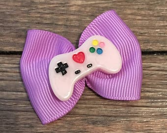 Video Game Infant or Dog Hair Bow-Tiny Video Game Hair Bow-Gamer Baby Bow-Gamer Dog Bow-Nintendo Baby Bow-Video Game Controller Hair Bow