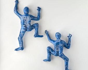SET of 2 climbing figures, wall decor, wall hanging, Metal art, rock climber, sports decor, Housewarming gift, 3d wall decor