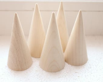 Set of 5 - Big Wooden cones 75x35 mm 5 pcs - eco friendly - CONES - without holes - ash-tree