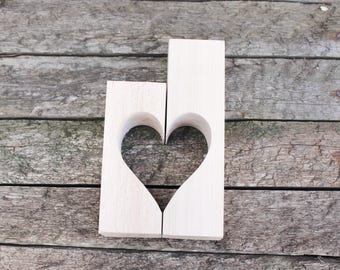 Wooden Candlestick - Heart - unfinished wooden candlestick - eco friendly wood - made from beech tree
