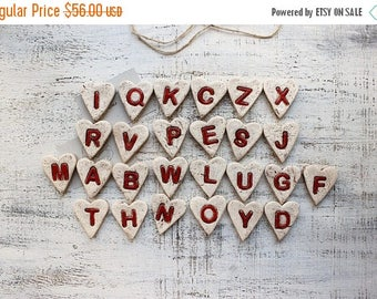 CHRISMAS IN JULY 20-26.07 26 alphabet magnets rustic cottage chic white red birthday baby shower bohemian rustic country chic primitive lett