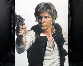 Original Colored Pencil Drawing of Han Solo (Harrison Ford) NOT a print