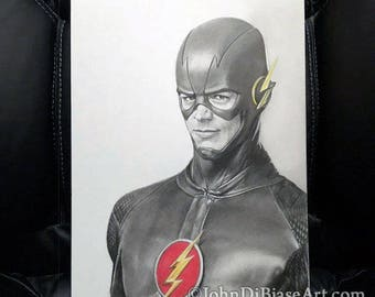 Original Graphite and Colored Pencil Drawing of of Grant Gustin as The Flash (NOT a print) 9x12