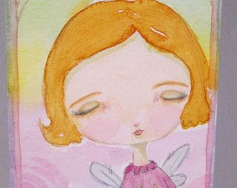 ACEO Original Watercolor Girl Orange Yellow Hair Angel Wings Eyes Closed Halo OOAK Gift Ceville Designs