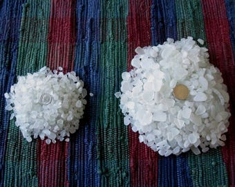 Two Collections Sea Glass - White Clear Frosted Beach Glass - 2 lbs. 9 oz. - Mosaic, Craft, Jewelry Supply - Wedding Decor
