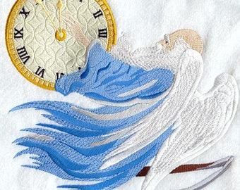 Father Time with Clock Embroidered on Made-to-Order Pillow Cover