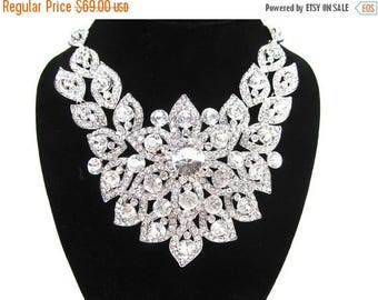 SALE SALE Bridal Statement Necklace, Crystal Bridal Necklace Set, Crystal Wedding Necklace, Crystal Evening Necklace ~ E70