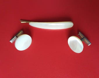 nacre Cufflink + tie clip 30 vintage from ussr