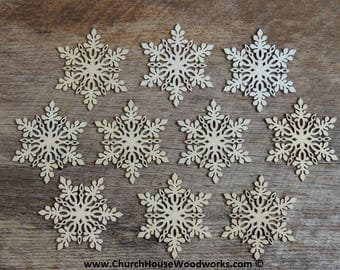 3 inch Snowflake Wood Christmas Ornaments- 10 pack Style 1 -  DIY Wooden Christmas Crafts Ornament Making Supplies