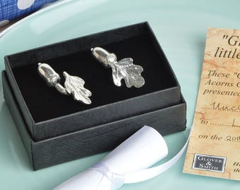 Mighty oaks from little acorns cuff link christening gifts for boys