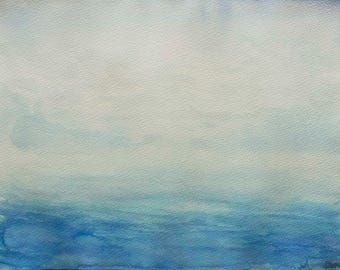 """Abstract Blue Painting, Watercolour on Paper 9"""" x 12"""" - """"Escapism"""""""