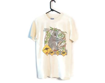 Vintage 80s BUSCH GARDENS T Shirt Down Under Australia Koala Bear Extinction size M