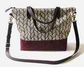 "Waxed Canvas Crossbody Tote Bag with Leather Straps - ""Columbia"" White/Maroon, School Bag, Tote Bag, Waxed Canvas Tote"