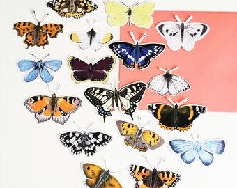 British Butterflies Sticker Pack - Illustrated Stickers - Planner Stickers - Bullet Journal Stickers - Hand Cut Stickers - British Nature