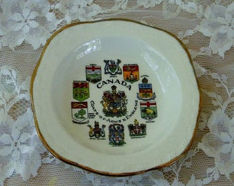 Summer Sale Canada Coat of Arms Collectible Mini Plate, Alfred Meakin England, Vintage Item
