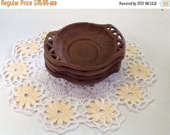 Summer Sale Mid Century Faux Bois Coasters Set of 4 - Made in Italy Vintage Items