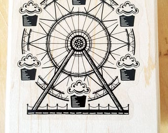 Cupcake Ferris Wheel Rubber Stamp retired from Stampin Up