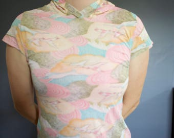 70's psychedelic birds hooded tee XS