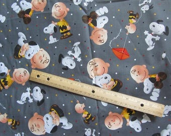 Gray Snoopy and Charlie Brown Cotton Fabric by the Half Yard