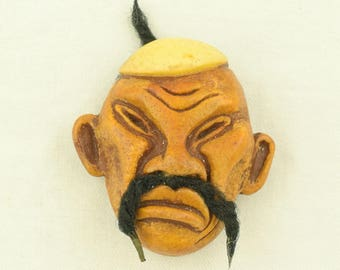1940s Vintage Brooch Figural Asian Man Chinese Face Fu Manchu ~ Lot 1420