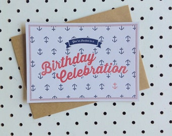 Fill-in Invitation - Set of 5 'Birthday Celebration'