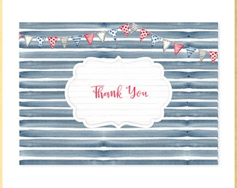Nautical Water Color Baby Shower Thank You Notes