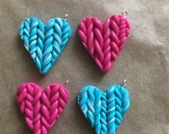 4 x  handmande knitted heart charms or flatbacks - pick tour colour