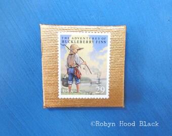 Vintage Postage Stamp Magnet 2 X 2 HUCKLEBERRY FINN