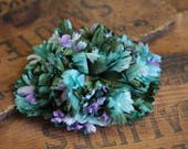 "Teal Flower Fascinator, 1950s Hair Clip, Green Blue Floral Headband, Vintage Hair Piece for Women, Oceanic Destination Wedding - ""If by Sea"""
