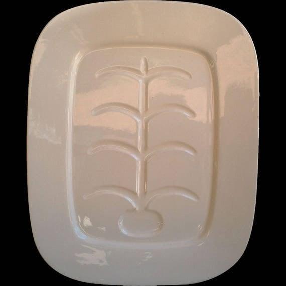 Vintage Plain White Ironstone Platter with Insert Fishbone Design, Japan, Holiday Platter, Wedding, Turkey Platter Rectangle Platter