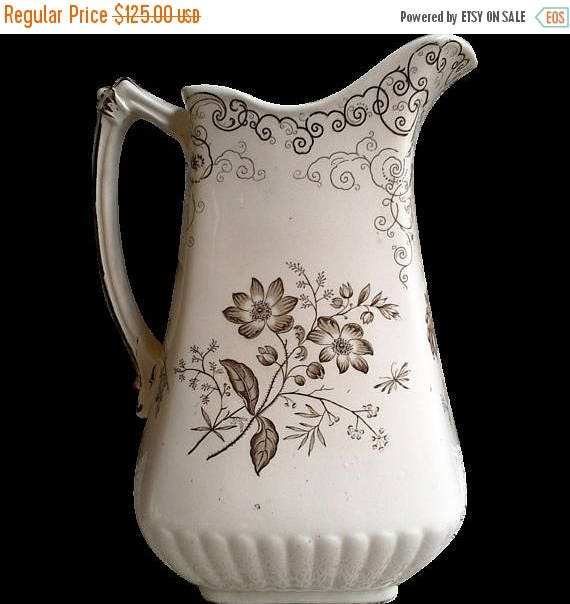 SALE Brown Transferware Chelsea Pitcher, Brown Transferware, Ironstone Pitcher, Cabinet Plates, 1800s