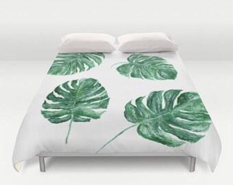 Monstera Leaf Duvet Cover, monstera duvet cover, tropical duvet cover, monstera leaf duvet, palm leaf duvet, palm leaf bedding