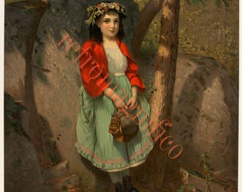 Victorian Queen of the Forest image from 1800's digital download art print, for framing, collage, mixed media, altered art,
