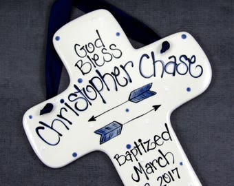 Baby Boy Baptism // Personalized Baptism Cross with Arrows in Blue