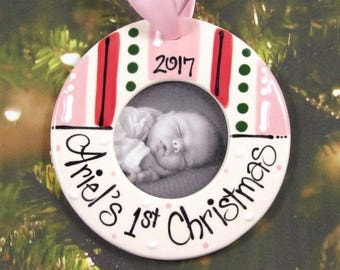 Personalized Baby's First Christmas Ornament Picture Frame in Pink