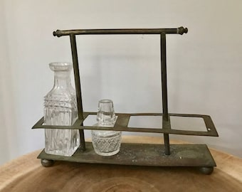 Vintage Brass Multi Vase Holder With Frosted Glass Bottles