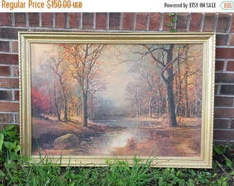 October Morn, Robert Wood, Art, Vintage gold frame,  Wide Ornate Gold Wood Frame, Scenic Wall Decor, Lithograph, 1950s lithograph