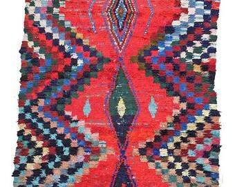 MIDCENTURY BOUCHEROUITE RUG | Moroccan Rug | Vintage Rug | Berber Rug | Moroccan Carpet |