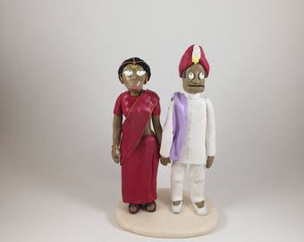 Custom Polymer Clay Wedding Cake Topper, Couple Figurine, Bride and Groom Sculpture