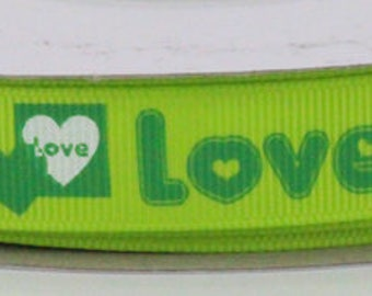 """Retro Groovy 60s Love Lime Green 5/8"""" Grosgrain Ribbon Great Crafting Ribbon and Hair Bow Making"""