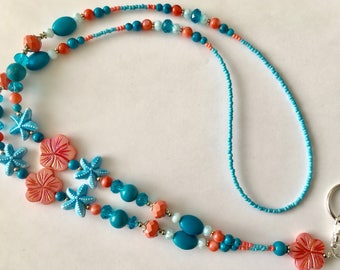 OBC011 Hawaiian Ocean Blue Turquoise and Peach Lanyard