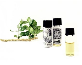 Hostess Gift Natural perfume oil Sample Set Your Choice 3 Natural and Organic Fragrances plus extra Gift Wrapped for Her cruelty free vegan