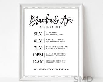 welcome to our wedding sign, timeline of events, itinerary, social media, wedding signage, capture our day, hashtag, sign, PRINTABLE