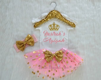 Baby Girl Custom Aqiqah with name light pink and gold dot, headband tutu outfit set, muslim islam aqeeqah aqiqa party celebration, 338