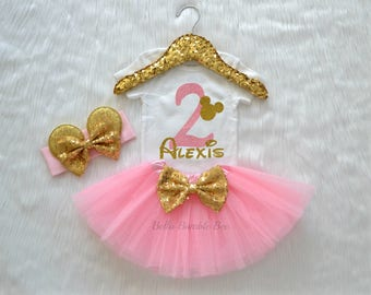 Baby Girl Disney Minnie Mouse, Pink and Gold with Custom Name, Second Birthday Tutu Headband Set, Short and Long Sleeve Bodysuit Tshirt 255